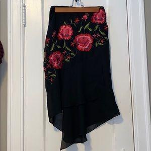 Black Floral Skirt , Flowy